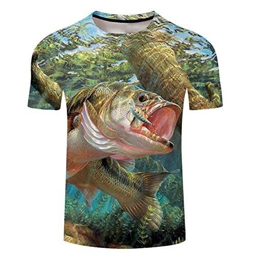 Lustiges T-Shirt mit 3D-Motiv Tropische Fische, kurzärmlig, für Herren und Damen, Übergröße, lässiges T-Shirt Striped Bass L - Bass-fischen-shirt