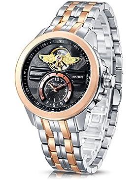 Time100 NEU Herren-Automatikuhr Analog mechanische Armbanduhr Edelstahl Runde Rosegold #W60049G.01A