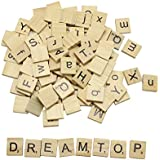 DreamTop 100x SCRABBLE de madera letras alfabeto Scrabbles Crafts colgantes Ortografía Scrapbooking (mayúsculas y minúsculas Mixed)