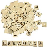Dreamtop 100x in legno scrabble piastrelle lettere alfabeto lettere maiuscole e minuscole Scrabbles ciondoli Ortografia Scrapbooking (Mixed)