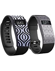 Greatfine Wireless Wristband Smart Watch Band Cover for Fitbit HR Charge(Black+Yun)