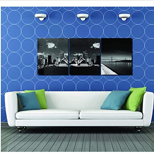 Djkaa 3 StückeSchwarz Sydney Opera Malerei Leinwand Wandkunst Bild Home Decoration Wandbilder Für Schlafzimmer, Druck Auf Leinwand -