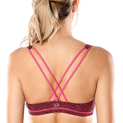 CRZ YOGA Donna Reggiseno Sportivo Yoga Spalline Incrociate Imbottite multicolore