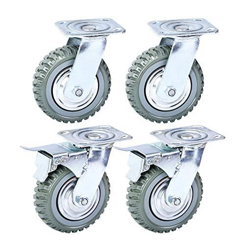 4 Stück × 150 mm Industrie-Rollen Schwerlast-Rollen 360 ° drehbar Transportwagen Möbelrolle Rollrolle Tragkraft 1000 kg (2 Stück mit Bremse)