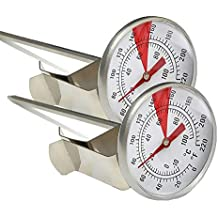 Termómetro de leche INRIGOROUS, paquete de 2 termómetros de espumador de leche de acero inoxidable