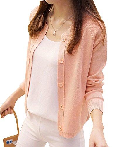 Qitun Damen kurzer Absatz Strickjacke Thin Pullover Jacke langärmelige Kleiner Schal Pink M -