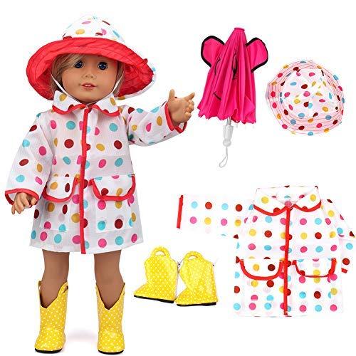 d0f463a94bc VAMEI 18 Pulgadas Doll Clothes Rain Coat para American Girl Dolls con Hot  Pink Umbrella