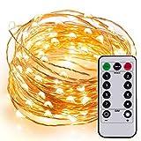 Kohree 60 LEDs Lichterkette Kupferdraht mit Fernbedienung, AA Batteriebetriebene Lichterkette 6M/20ft, Christmas String Lights für Hochzeit Weihnachten Party Garten (Warmweiß)