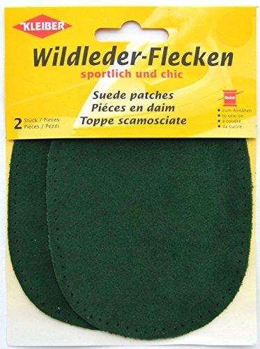 Kleiber 12 x 10 cm Ovale Flicken aus Velours-Leder, 1 Paar, grün