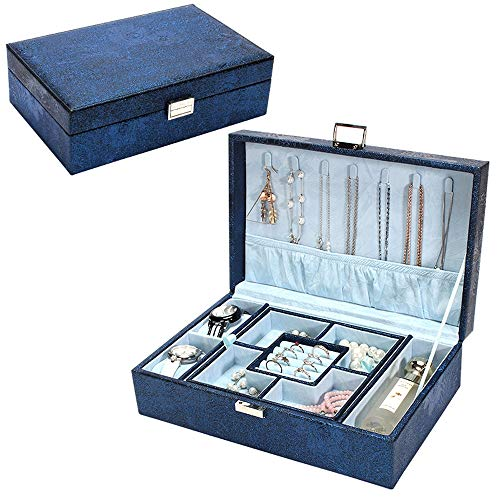 (YANHTSO Schmuckschatulle Große Kapazität Haushalt Einfache Doppel Schmuck Aufbewahrungsbox Hand Schmuckschatulle Europäische Halskette Ohrringe Box (Farbe : Blau, größe : 29.5cm*19.8cm))