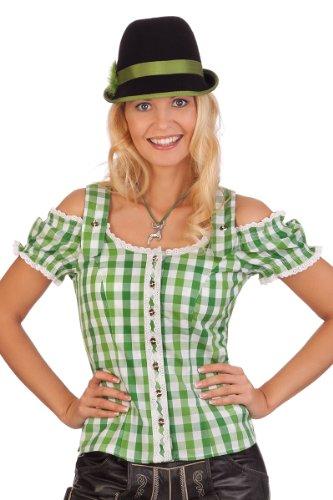 Spieth & Wensky Trachten Bluse im Carmenstil - Sierra - rot, grün, Größe 44