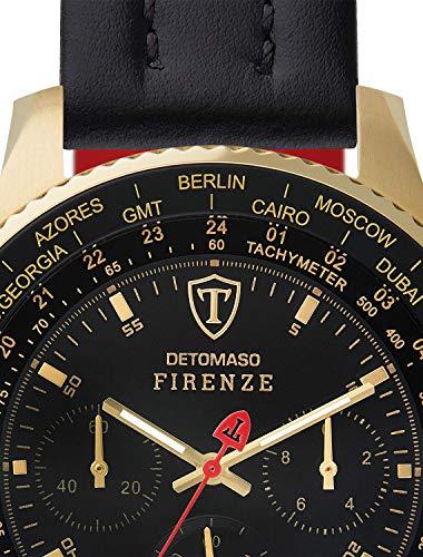 DETOMASO FIRENZE XXL Herren-Armbanduhr Chronograph Analog Quarz schwarzes Lederarmband schwarzes Zifferblatt DT1045-H