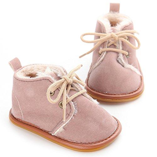 Chaussures bébé d'hiver doux Sole Bébé Garçon Fille Chaussures Premiers Pas (M: 6~12 mois, Rose) Marron