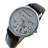 """Armbanduhr für Damen mit der Aufschrift """"Whatever, I'm late anyway"""" von HARRYSTORE, weißes Ziffernblatt, Quarzwerk, Armband aus Kunstleder, a, Band Length: 23cm"""