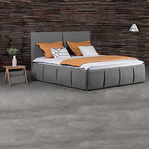 Pharao24 Design Polsterbett in Grau Webstoff mit 2 Nachttischen Breite 218 cm Tiefe 207 cm Liegefläche 200x200