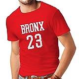 Männer T-Shirt Bronx 23 - Street Style Mode (X-Large Rot Weiß)