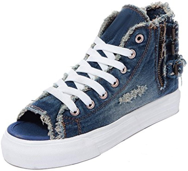 39a4b5db9364 LIUXUEPIN Korean Cowboy Version nhta-20438 Shoes Cloth Shoes Holes High  Heel Shoes Cowboy Fish Mouth Shoes Student Tie Open Toe Shoes.