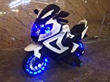 #4: Kidbee 12V Electric Powered Motorcycle Bike Toy with Training wheels, Remote Control, Led Lights and AUX Plug - White