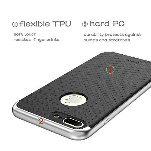 iPhone 7Coque, Ipaky® Solution complète de protection Premium Mat Double couche Coque rigide iphone7 Plus(5.5 inch) Silver Silver