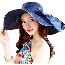 TININNA Mujeres Ladies plegable elegante lazo Ala Ancha grande Floppy Sombrero de Playa Sol Sombrero De Paja Cap Sun Visor azul oscuro