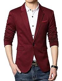 Herren Premium Lässig Slim Fit Ein Knopf Blazer Anzugjacke Sakko