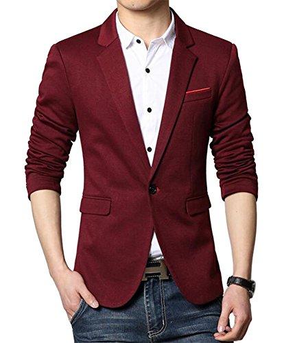 Herren Premium Lässig Slim Fit Ein Knopf Blazer Anzugjacke Sakko (S, Burgund)
