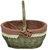 east2eden Traditional Brown Wicker Shopping Basket Shopper Storage Display with Gingham Lace Lining in Choice of Sizes & Deals (Large)