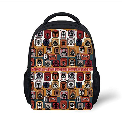 Kids School Backpack Primitive,Native American Indian Maya Face Mask in Different Expressions Universal Totem,Multicolor Plain Bookbag Travel Daypack