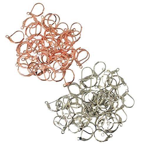 Sharplace 100 Piezas Palanca Volver Aro Pendientes Abrazadera Gancho para La Oreja Rose Gold \u0026 Silver Mixed