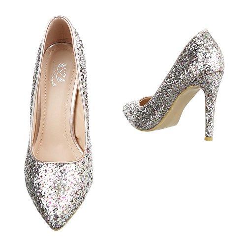Damen Pumps Schuhe High Heels Stöckelschuhe Stiletto Blau Schwarz Elfenbein Rot Gold 36 37 38 39 40 Gold