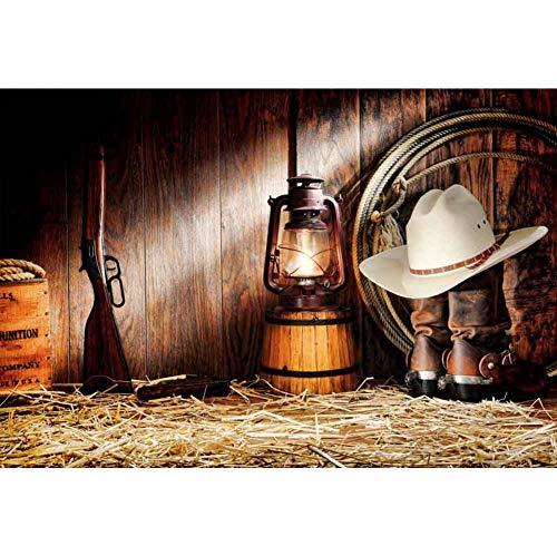 Cassisy 1,5x1m Vinilo Granja Telon de Fondo Vaquero del Oeste Granja Granero Tablones De Madera Pantalla Shotgun Sombrero Fondos para Fotografia Party Infantil Photo Studio Props Photo Booth