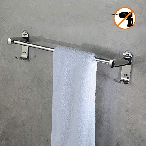 Choelf portasciugamani da bagno 50 cm con ganci, 8 kg max autoadesivo appendi asciugamani bagno con ganci appendiabiti in acciaio inox porta asciugamani con mensole singola, in bagno/cucina