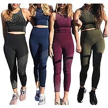 Femmes Yoga Ensemble De Sport Gym Tenue 2 Pièce Yoga Tops + Tights Haute  Taille Leggings 61a82281e23