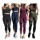 Femmes Yoga Ensemble De Sport Gym Tenue 2 Pièce Yoga Tops + Tights Haute Taille Leggings Tenue Slim Vêtements de Sport Sportswear Yoga Costume Jogging Ensemble