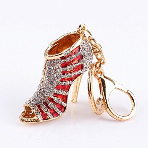VORCOOL Strass verziert High Heel Schuh geformt Schlüsselanhänger Keychain für Telefon Auto Tasche Charme Geschenk (rot)