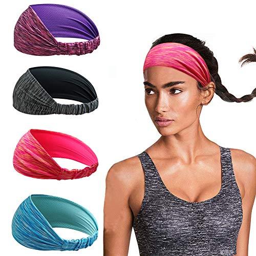 Linlook Damen Sport Stirnband für Yoga Sportlich Laufen Workout Fitness Übung Tennis Gym Fahrrad Wandern Volleyball Tanz Reisen- Elastische rutschfeste Leichte Haarband
