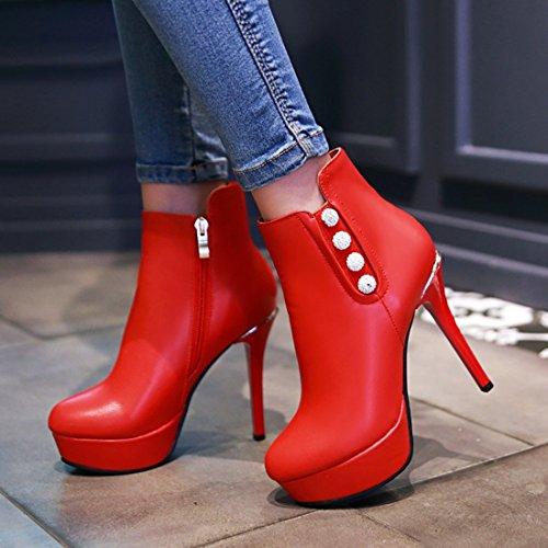 Con L'inverno Di Eclair E Piattaforma Chiusura Uh Caviglia Taglienti Per Finali Eleganti Donna Rosso Tacco Stivali Perle RxXRqSw7Z