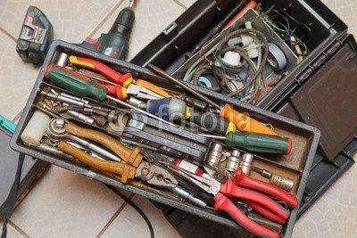 druck-shop24 Wunschmotiv: Box of tools #123922316 - Bild auf Alu-Dibond - 3:2-60 x 40 cm/40 x 60 cm (Mobile-tool-box Aluminium)