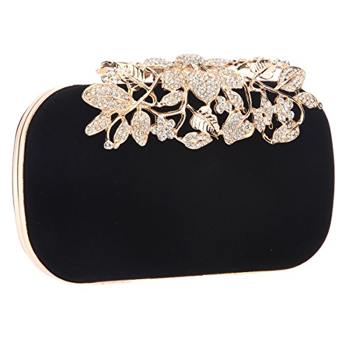 Bonjanvye Glitter Velvet Flower Clutch Daily Handbag for Girls Multicolor Nero