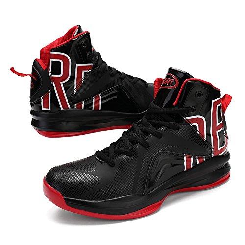 Gomnear Männer Basketball Schuhe Atmungsaktiver Sneaker Leicht Draussen Knöchel Trainer Stiefel Laufen Sport Schuhe Schwarz Rot