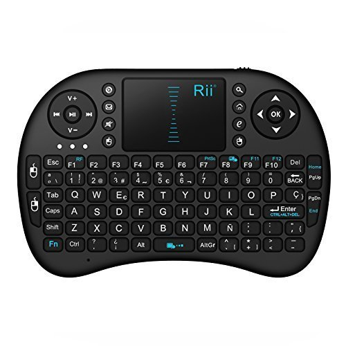 Rii Mini i8 Wireless (layout Español) - Mini teclado ergonómico con ratón touchpad para Smart TV, Mini PC Android, PlayStation, Xbox, HTPC, PC, Raspberry Pi (Rii mini i8