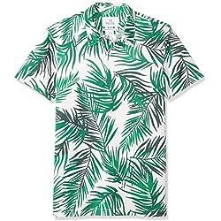 Marca Amazon - 28 Palms - Polo de golf de piqué con estampado tropical, algodón de calidad, corte estándar., Green/White Palm Leaves, US XL (EU XL - XXL)