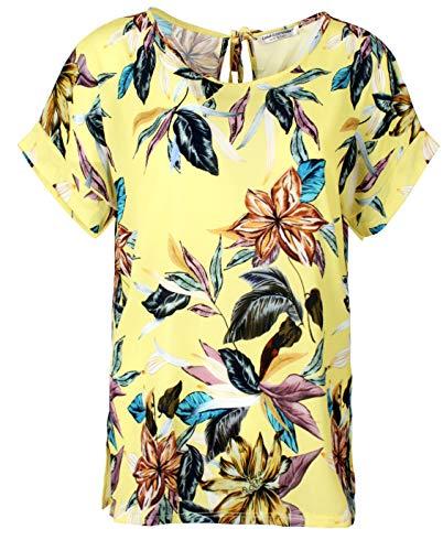 Emma & Giovanni - Chiffon blusen T-Shirt/Oberteile Oversize mit Kurzarm Segelstoffe - Damen (# Blume-Gelb, DE 38 (Herstellergröße M)) -