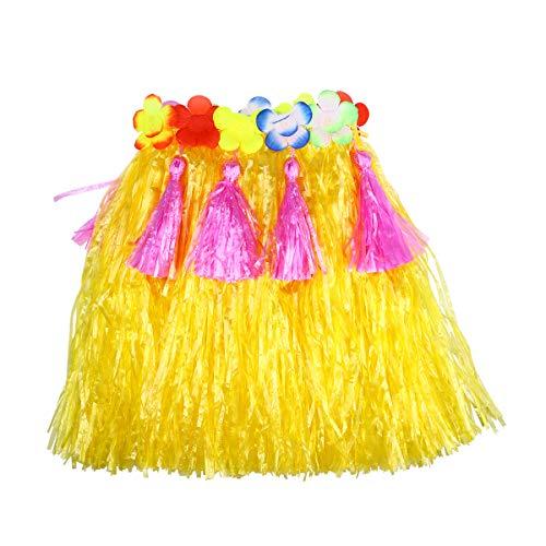 BESTOYARD Kinder Hawaii Gras Rock Tropical Hula Gras Rock Luau Hawaii Beach Party Kostüm für Kinder (40 cm Gelb)