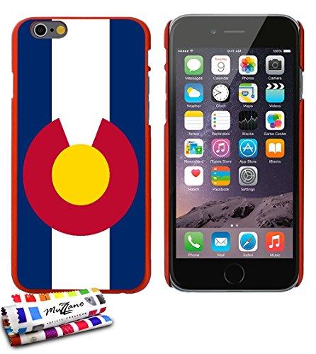 Ultraflache weiche Schutzhülle APPLE IPHONE 6 4.7 POUCES  [Flagge Colorado ] [Blau] von MUZZANO + STIFT und MICROFASERTUCH MUZZANO® GRATIS - Das ULTIMATIVE, ELEGANTE UND LANGLEBIGE Schutz-Case für Ihr Rot