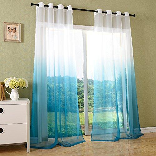 Schal Transparent Farbverlauf Vorhang mit Ösen Gardine Voile, 2 Stück 245x140, Türkis, 204202