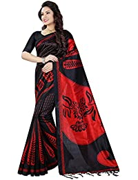 Shree Sanskruti Tassar Silk Saree With Blouse Piece(ART SILK 3_Black_Free Size)