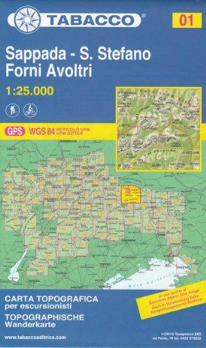 01 Sappada - S. Stefano, Forni Avoltri 1:25.000 randonnée topographique, le cyclisme et ski de randonnée carte (Dolomites, Alpes)