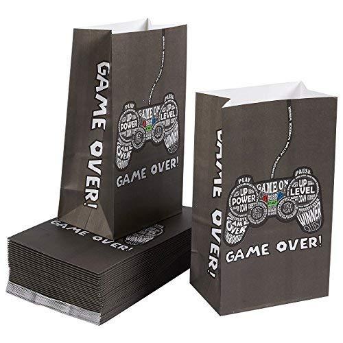 Blue Panda 36-Pack Party Goody Bags für Bevorzugungen, Leckereien und Goodies - Video Game Party Supplies für Kinder Geburtstag, 5 x 8,5 x 3 Inches Gamer (Video-spiele, Party Supplies)