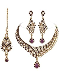 I Jewels Traditional Gold Plated Kundan Necklace Set With Maang Tikka For Women(K7055Pu)(Purple)